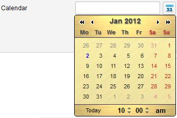 Calendar theme gold